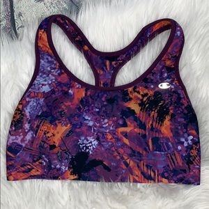 Champion purple watercolor print sports bra L